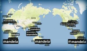 Menções a Nelson Mandela nas redes sociais pelo mundo.